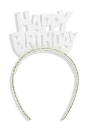 TT Tahtakale Toptancıları Evadan Taç Simli Taşlı Happy Birthday Yazılı  Beyaz 0