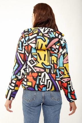 Bigdart Kadın Çok Renkli Mix Kapşonlu Şişme Mont 5093BGD19_029 3