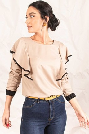 تصویر از Kadın Bej Biyeli Volanlı Bluz ARM-19K001089