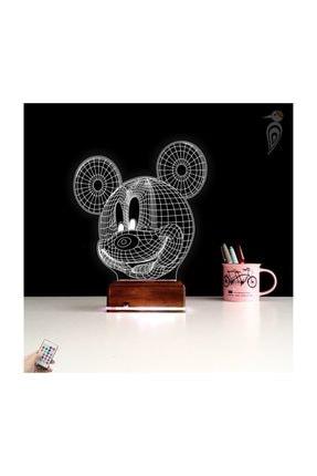 TahtaModa 3d Ilizyon Led Lamba Dekoratif Gece Lambası Çocuk Odası Mickey Fare Gece Lambası 0