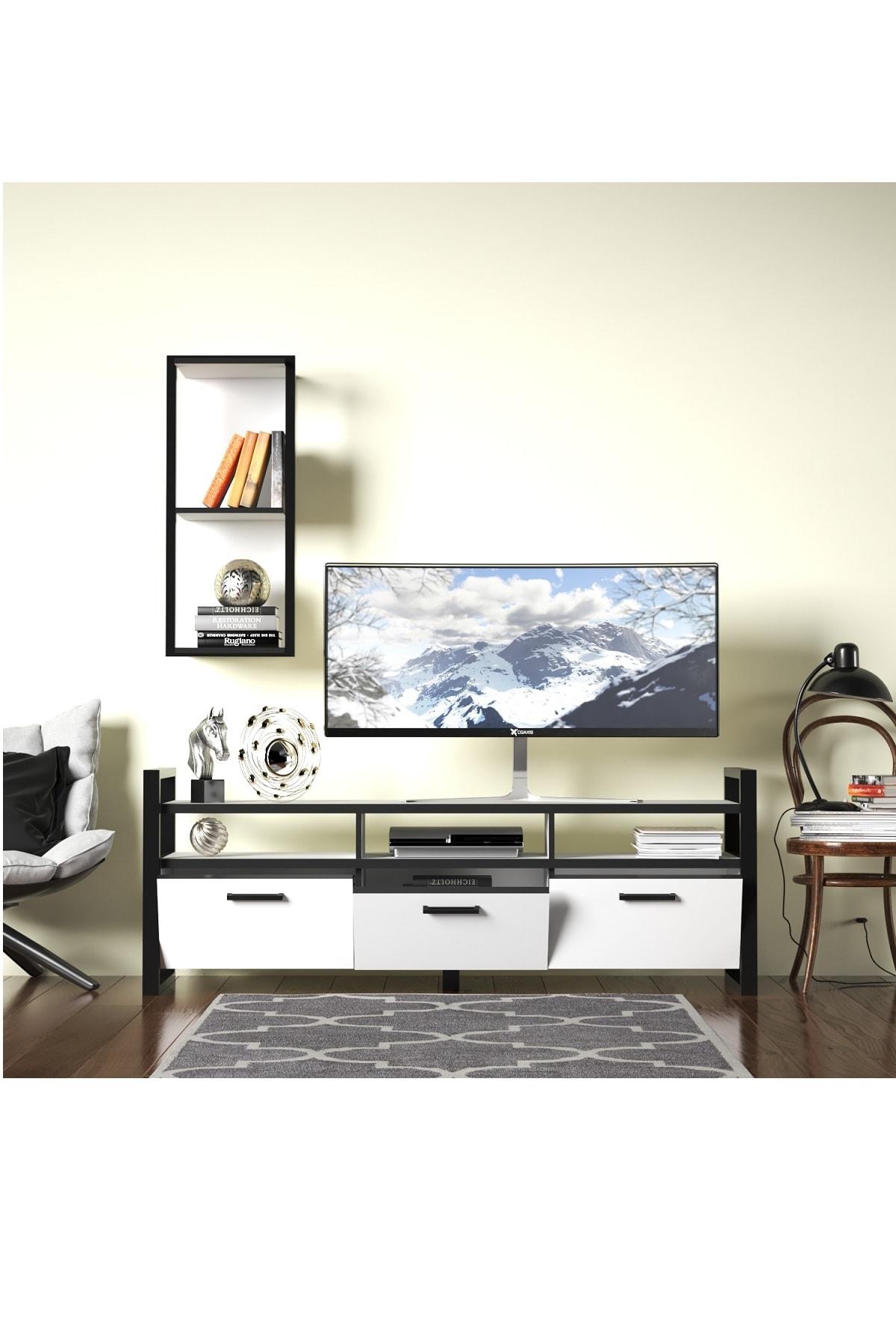 Evdemo Sedef Tv Sehpası Tv Ünitesi Beyaz Siyah 0