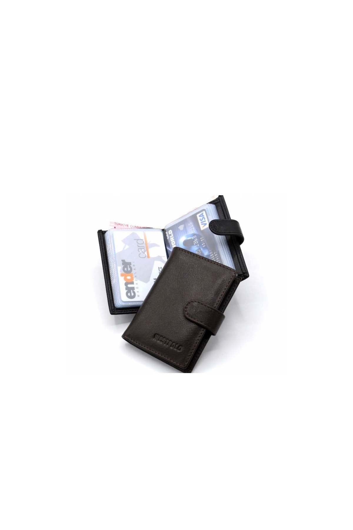WEST POLO CÜZDAN Kahverengi Erkek Deri Patlı Kağıt Para Gözlü Şeffaf Kartlık WP3068 2