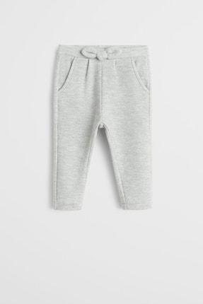 Açık Kırçıllı Gri Kız Bebek Yumuşak Kumaşlı Fiyonklu Pantolon 57068261 resmi