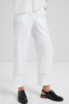 Yargıcı Kadın Beyaz Biye Detaylı Pantolon 9KKPN3127X 2