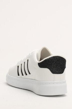 Ayakkabı Modası Beyaz-Siyah Kadın Sneaker M4000-19-101001R 1