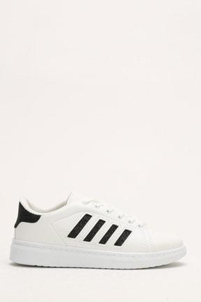 Ayakkabı Modası Beyaz-Siyah Kadın Sneaker M4000-19-101001R 0
