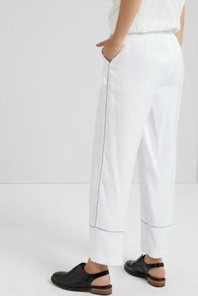 Yargıcı Kadın Beyaz Biye Detaylı Pantolon 9KKPN3127X 3