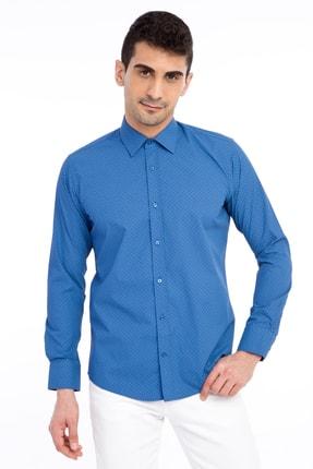 Kiğılı Uzun Kol Desenli Slim Fit Gömlek 0