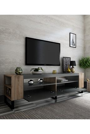 NEWLİNE Snow Tv Ünitesi 40 cm Derinlik Demir Ayaklı Antrasit - Çırağan x2022-1 0