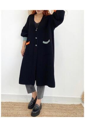 Maystore Kadın Siyah Renk Detaylı Kalın Örme Uzun Triko Hırka 0