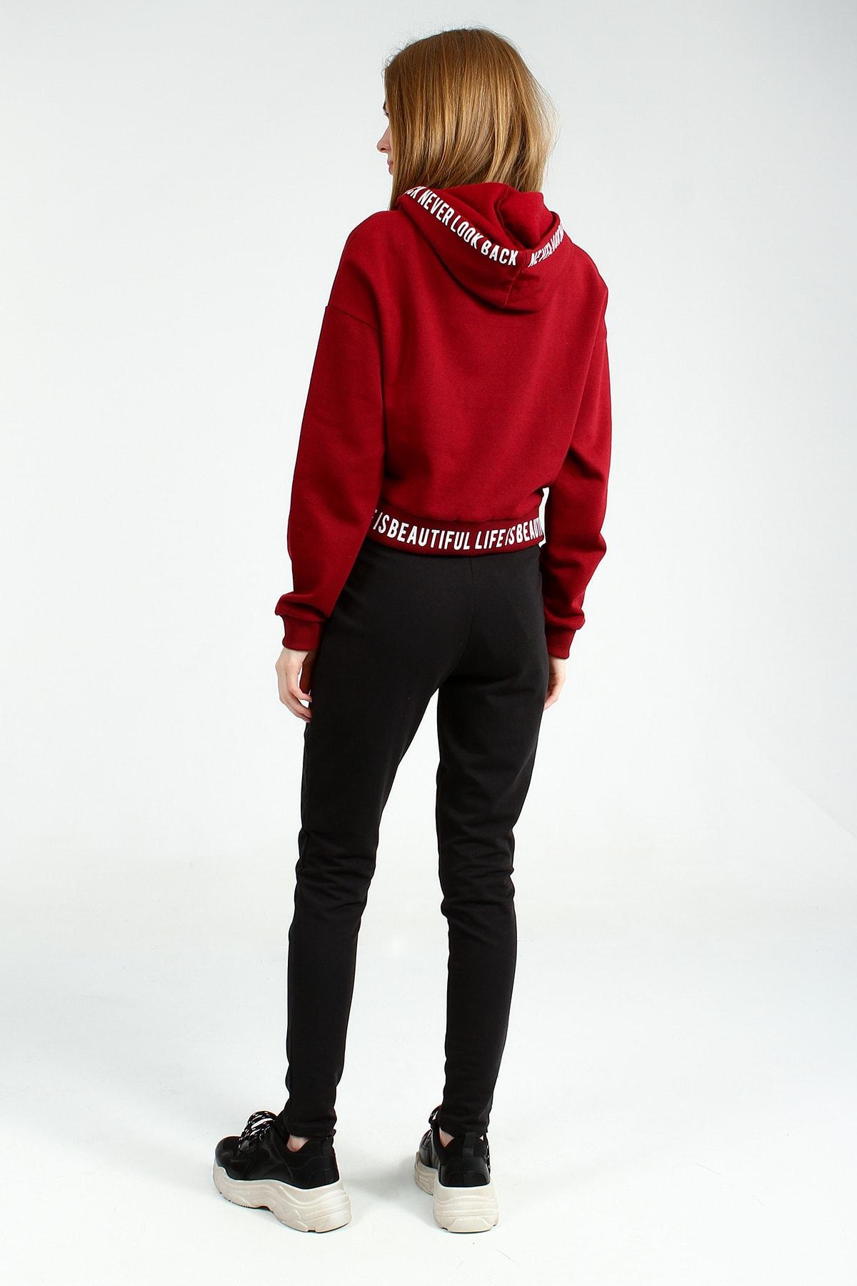 Collezione Kadın Bordo Regular Sweatshirt Ermen UCB150463A15 3