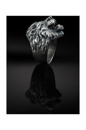 Bysilverstone Aslan Kafası Erkek 3 Boyutlu Gümüş Yüzük 2