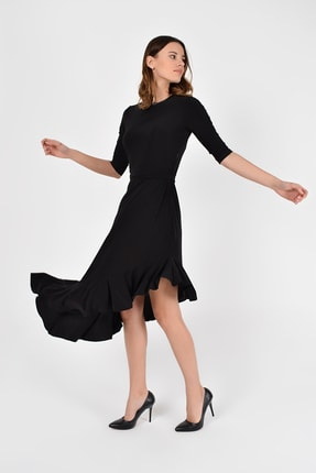 Laranor Kadın Siyah Asimetrik Kesim Elbise 19L6750 1