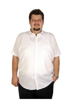 Picture of Buyuk Beden Erkek Gömlek Kısa Kol  Cep 19394 Beyaz