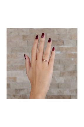 Tesbihane Zirkon Taşlı Sonsuzluk Tasarım Rose Renk 925 Ayar Gümüş Bayan Yüzük 1