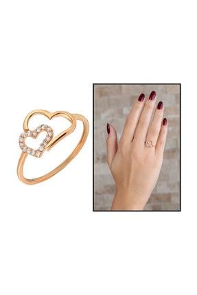 Tesbihane Zirkon Taşlı Asimetrik Kalp Tasarım Rose Renk 925 Ayar Gümüş Kadın Yüzük 1