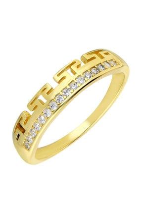 """Tesbihane Zirkon Taşlı """"t"""" Tasarım Gold Renk 925 Ayar Gümüş Bayan Yüzük 0"""