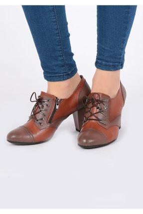 Pretty Fermuar Ve Bağcıklı Taba Renk Kadın Ayakkabı 3