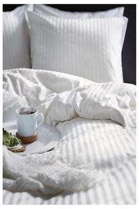 IKEA Nattjasmın Çift Kişilik Nevresim Takımı Saten Dokuma Pamuklu Beyaz Çizgili + 2 Adet Yastık Kılıfı 0