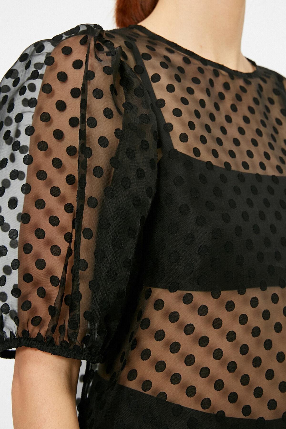 Koton Kadın Puantiye Desenli Balon Kollu Transparan Bluz