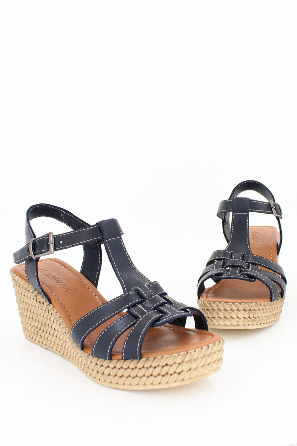 Hakiki Deri Lacivert Kadın Dolgu Topuklu Deri Sandalet DP55-2617