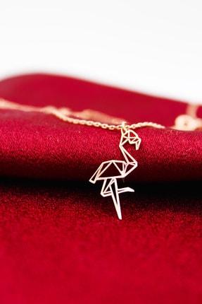 Silver&Silver Kadın Gümüş Rose Origami Flamingo Kolye 0