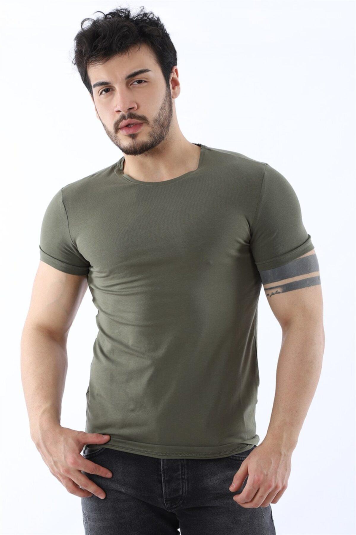 Erkek Sıfır Yaka Likralı Slim Fit Haki T-shirt