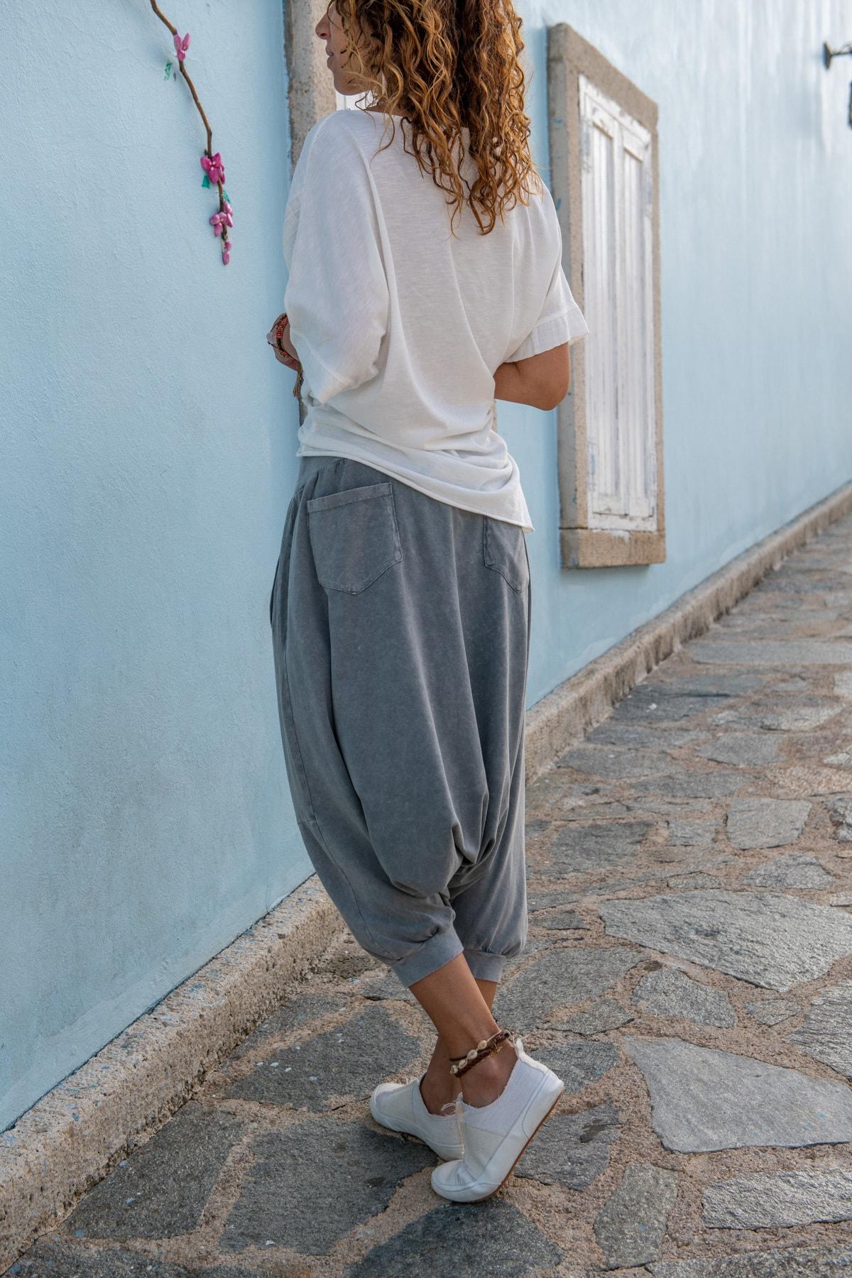 Güneşkızı Kadın Gri Yüksek Bel Cepli Beli Lastikli Şalvar Pantolon GK-RSD2004 2