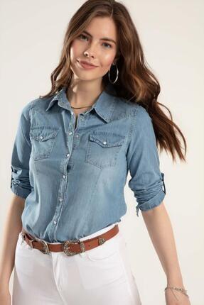Pattaya Kadın Basic Kot Gömlek Y20s110-3411 1