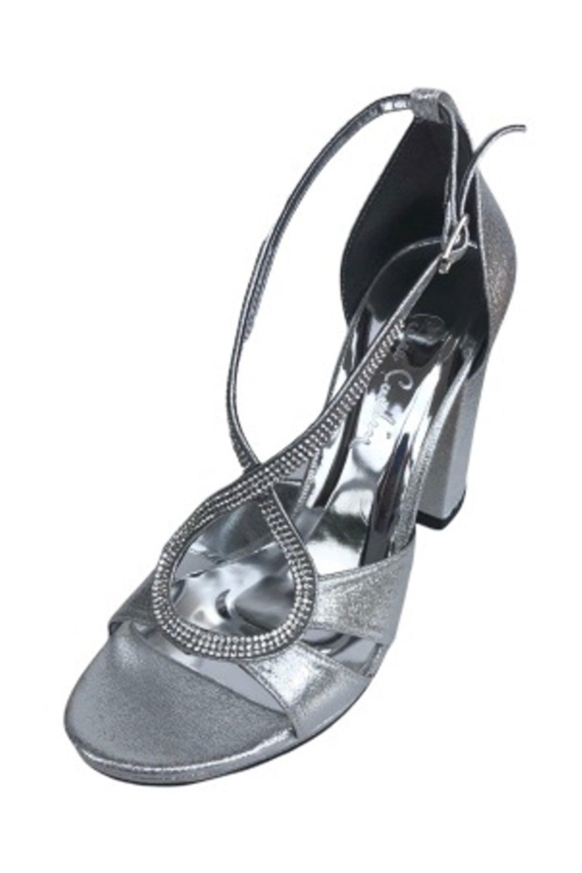Pc 50020-595 Gümüş Kadın Abiye Topuklu
