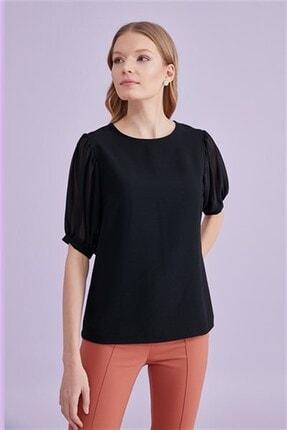 Journey Kadın Siyah O Yaka Şifon Kol Bluz 1