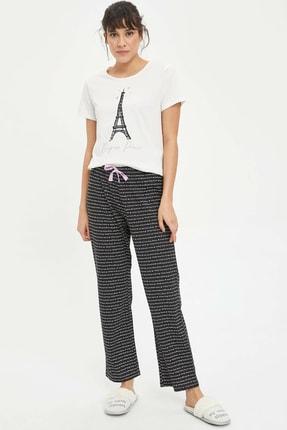 Defacto Kadın Siyah Baskılı Pijama Takımı N2462AZ.20SP.BK27 1