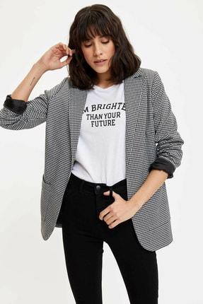 Defacto Kadın Siyah Ekose Blazer Ceket M8794AZ.20SP.BK27 0