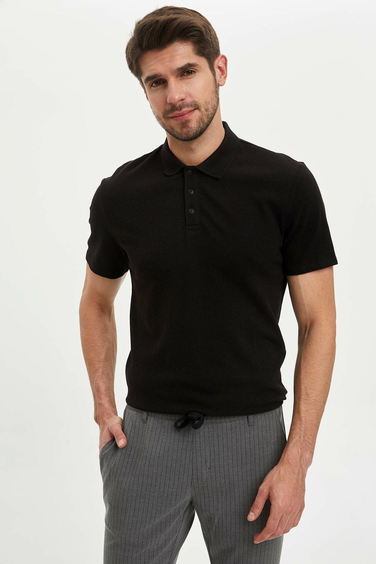 Erkek Siyah Slim Fit Basic Polo T-Shirt