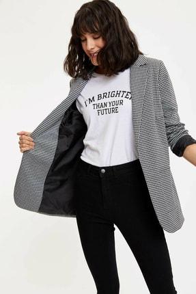 Defacto Kadın Siyah Ekose Blazer Ceket M8794AZ.20SP.BK27 2