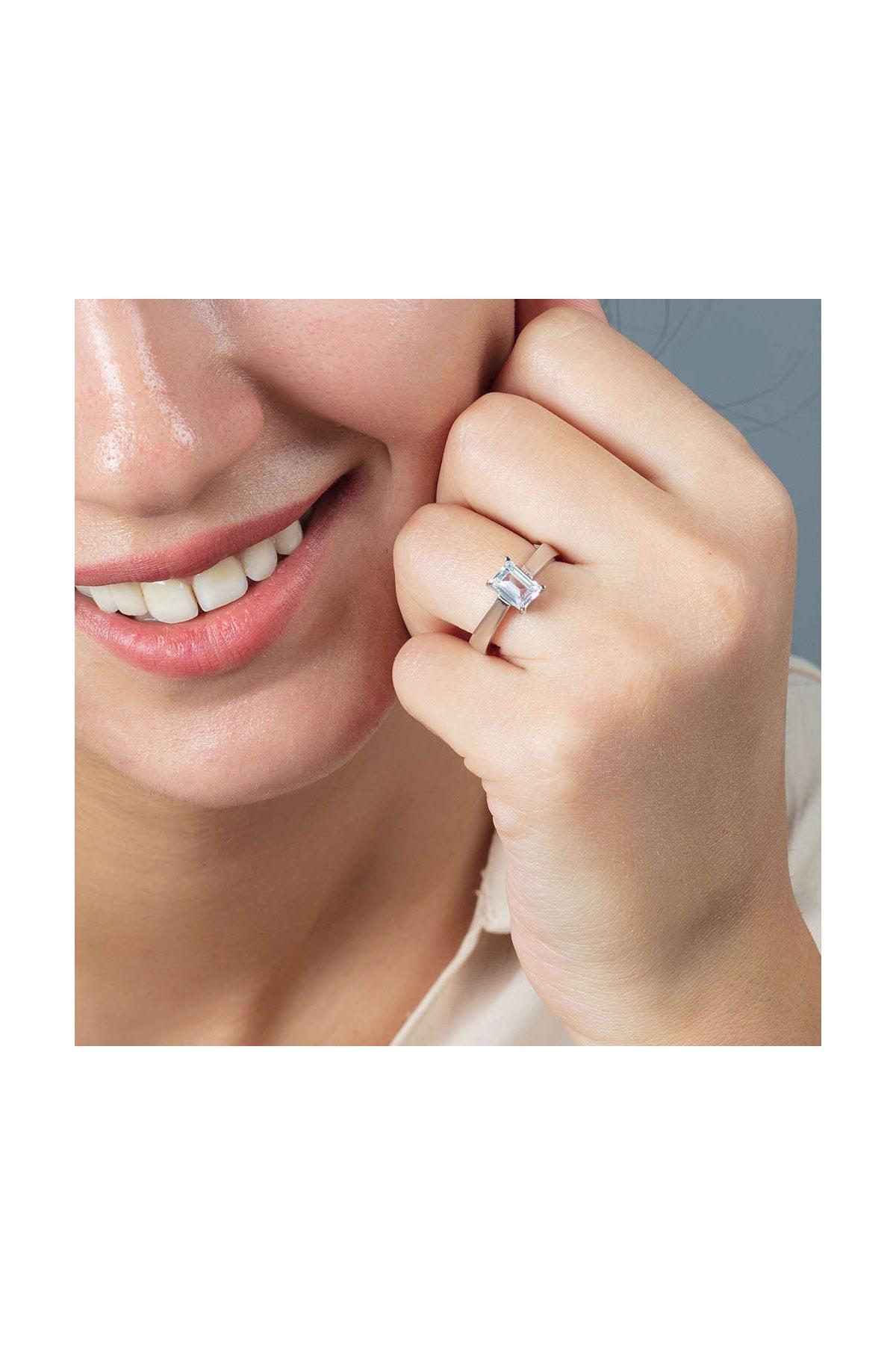 Tesbihane Starlight Diamond Pırlanta Montür Minimal Tasarım 925 Ayar Gümüş Bayan Baget Yüzük 102001792 2