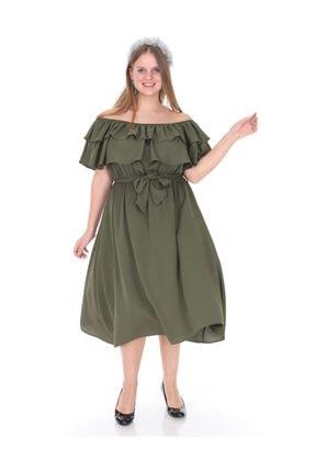 Kadın Büyük Beden Roba Fırfır Katlı Elbise Haki resmi
