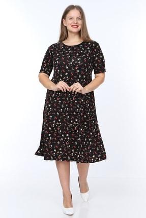 Alesia Kadın Siyah Çiçek Desenli Kısa Kol Krep Elbise MHMT2020-310 1