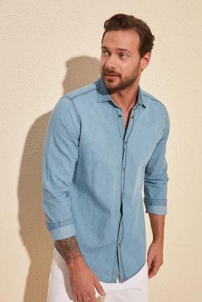 TRENDYOL MAN Mavi Erkek İnce Basic Denim Gömlek TMNSS20GO0107 1