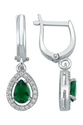 Girabella Zümrüt Yeşil Zirkon Taşlı Sallantılı Klasik Damla Gümüş Küpe 0
