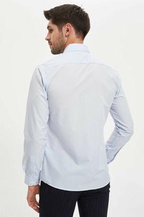 Defacto Erkek Mavi Basic Slim Fit Gömlek 3