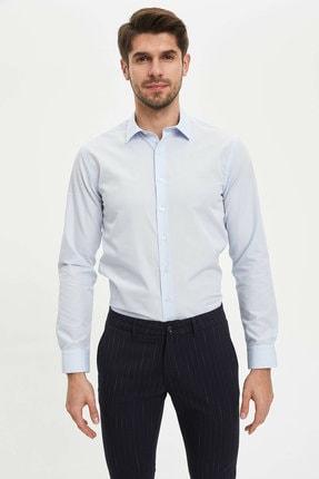 Defacto Erkek Mavi Basic Slim Fit Gömlek 4