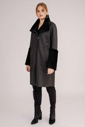Hakiki Yünlü Deri Manşet Detaylı Palto resmi