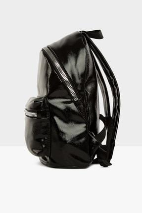 Bagmori Parlak Siyah Kadın Kalın Fermuarlı Dokulu Sırt çantası  M000004125 2