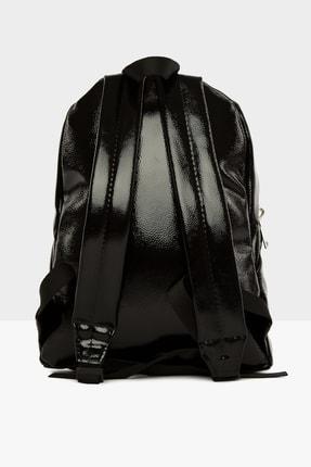Bagmori Parlak Siyah Kadın Kalın Fermuarlı Dokulu Sırt çantası  M000004125 3
