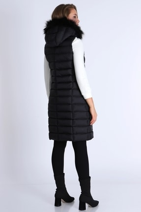 MD trend Kadın Fermuarlı Kapşonu Kürklü Şişme Yelek/siyah/xl 3