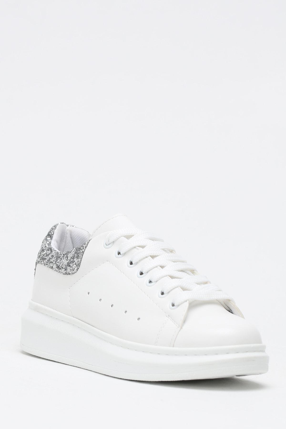 Ayakkabı Modası Beyaz-Gümüş Kadın Casual Ayakkabı 5007-20-110001 2