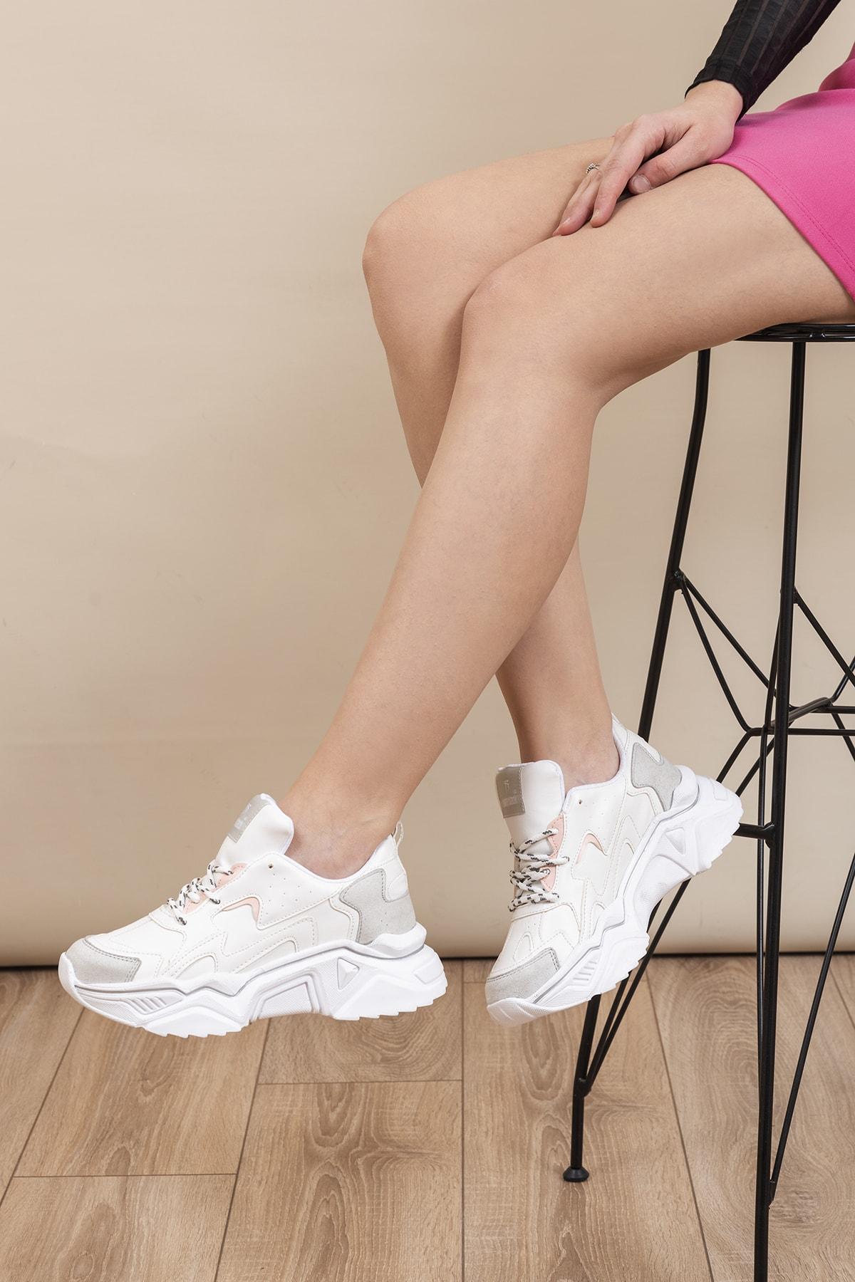 Beyaz Gri Kadın Sneaker DNZ-1