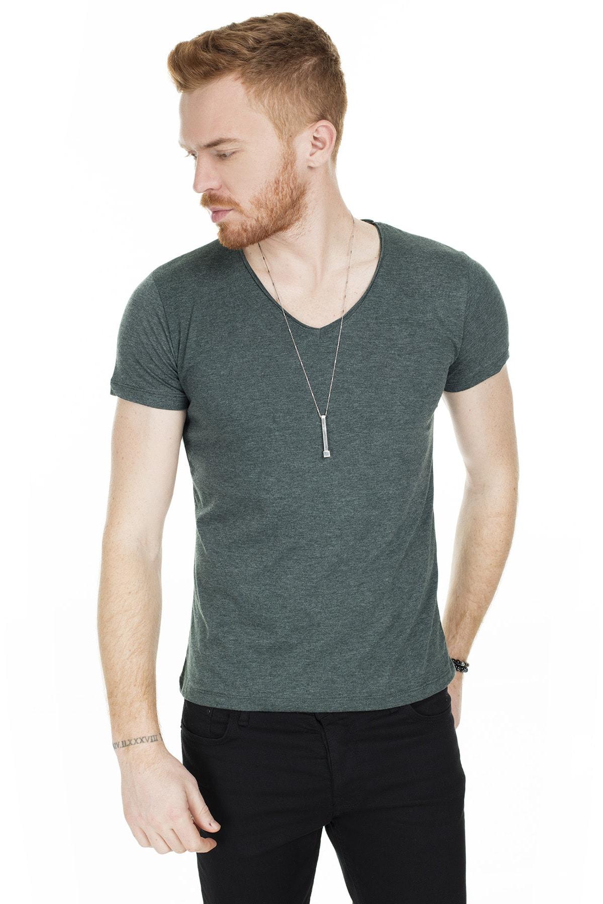 Buratti Erkek Yeşil V Yaka Pamuklu Basic T Shirt 54153 0