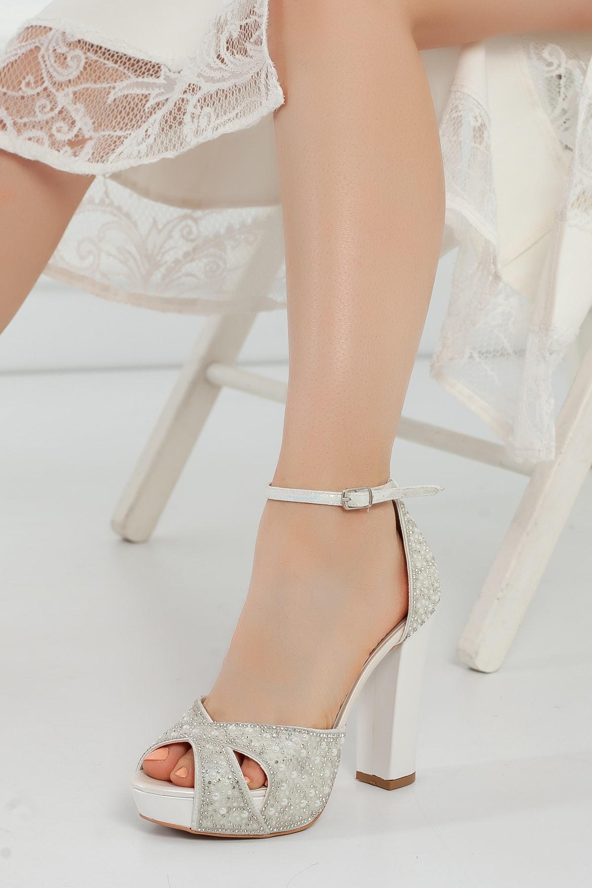 Çnr&Dvs Sedef Inci Taş Kadın Abiye Ayakkabı 2011cnr